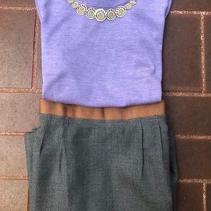 Gray LOFT wool blend pencil skirt 8